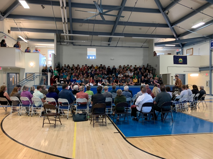 Craftsbury grades 6-12 and Wolcott grade 6 at Welcome with the 45 community participants